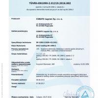 Certyfikat spawalniczy dla spawania elementów konstrukcyjnch ze stali wg EN1090-2