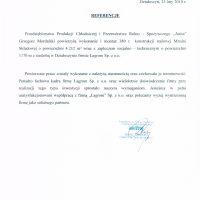 """Przedsiębiorstwo Produkcji Chłodniczej i Przetwórstwa Rolno-Spożywczego """"ANITA""""  Grzegorz Mordalski 14.02.2013"""